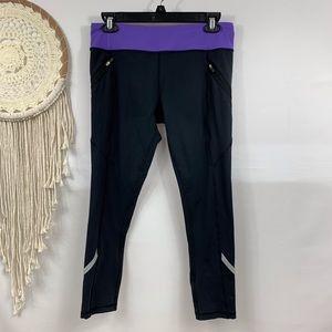 Lululemon Black Purple 7/8 Leggings